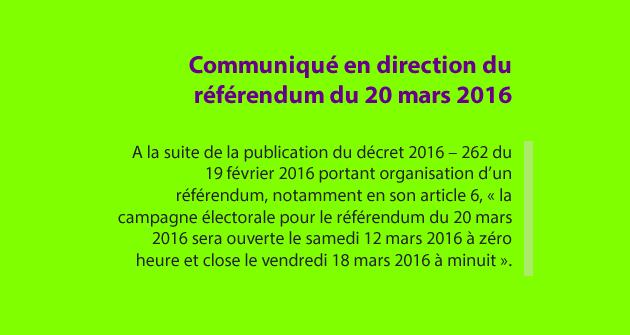 Communiqué en direction du référendum du 20 mars 2016