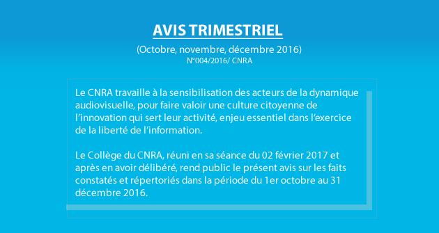 AVIS TRIMESTRIEL (Octobre, novembre, décembre 2016)
